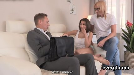 Indebted lover allows randy pal to poke his companion for hard cash