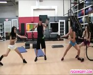 Four Sexy Besties Blowjob And Twat Fucked In The Gym - scene 5