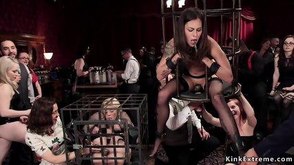 Caged slave sluts dominated and banged