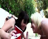 Beautiful Brunette Juggy And Slutty Blonde Hottie Sucks Dick Outdoor - scene 11