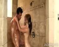 Beautiful Petite Masseuse Sucks Off Hunk In The Shower - scene 6