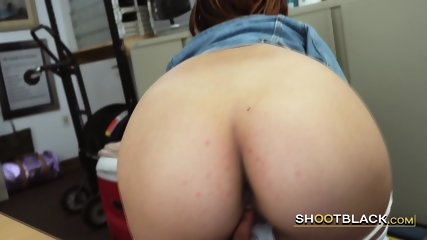 Short haired teen gets her punani stretched out by horny director