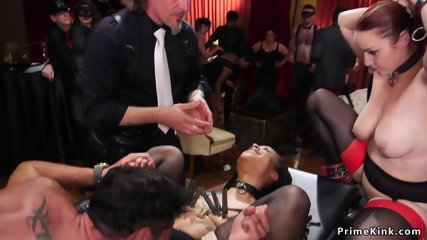 Four hot slaves fucking at bdsm orgy