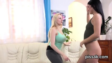 Fervent lesbian cuties get sprayed with pee and blast wet twats