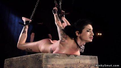 Hot ass slave gets dp dildo banging