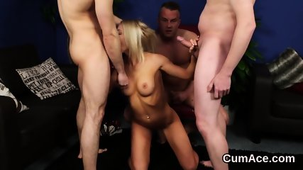 Hot beauty gets cumshot on her face sucking all the load