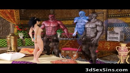 3D Girls Ruined by Creatures From Hell!