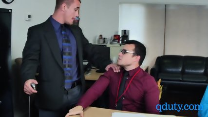 Horny boss waves his big cock in his employees face
