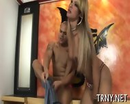 Young Tranny Swallows Cock