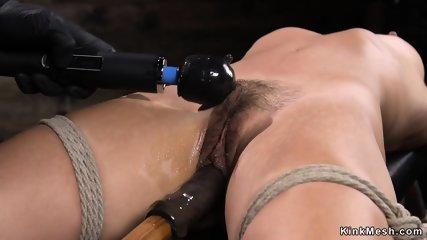 Hairy Asian fingered in hogtie suspension