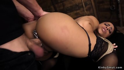 Ebony takes huge dick in the ass bdsm