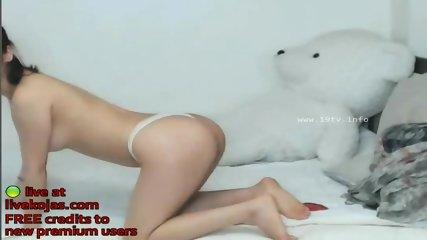 Korean beauty masturbates on bed