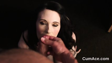 Spicy beauty gets cumshot on her face swallowing all the charge