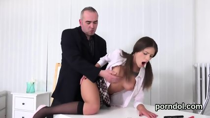 Lovely college girl is seduced and shagged by elderly instructor