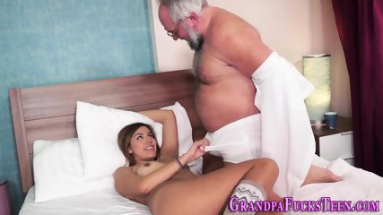 Teen blows old mans cock