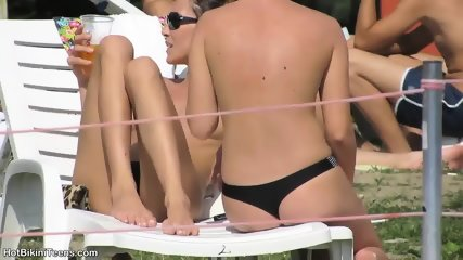 Sexy Topless Teens Tanning Wearing Micro Thongs - scene 10