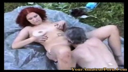Redhead wife fucking in the woods with old man - scene 11