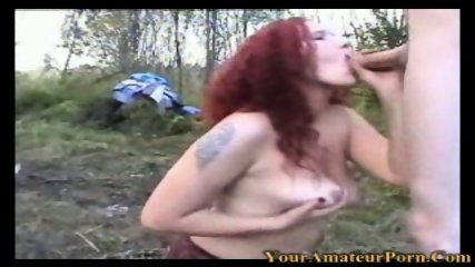 Redhead wife fucking in the woods with old man - scene 3