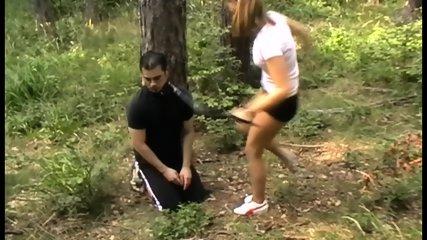 Femdom Brats kick slaves outdoor