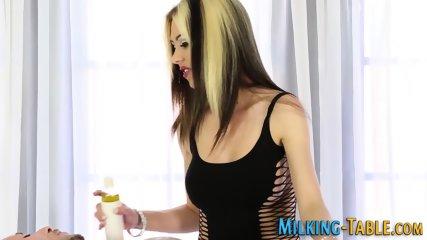 Masseuse gobbles cock