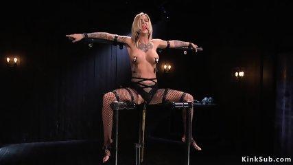 Alt busty blonde toyed in diferent bondages