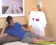 Handjob Loving Granny Tugging Hard Dick - scene 1