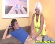 Handjob Loving Granny Tugging Hard Dick - scene 5
