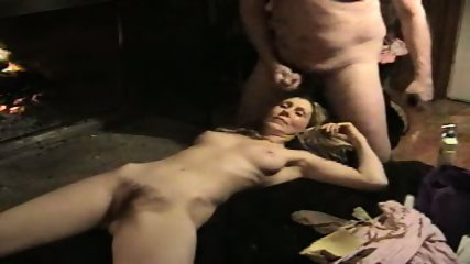Hot wife getting a cum facial in her mouth - scene 11