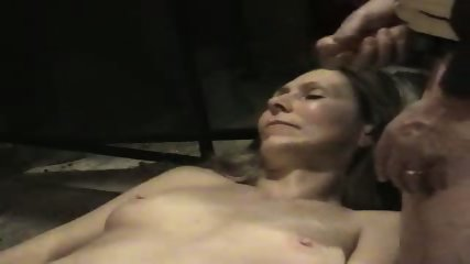 Hot wife getting a cum facial in her mouth - scene 1