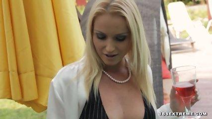 Blonde mistress enjoys lesbian sex with her slave