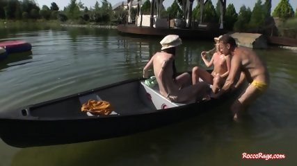 Rocco fucks two hot babes in outdoors