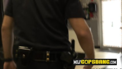 Barbershop gets steamed up once milf cops make suspect drill them