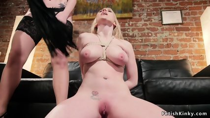 Straight busty blonde anal fucked lezdom