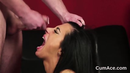 Horny looker gets jizz shot on her face swallowing all the cream