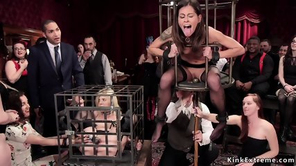 Anal sluts in cages at orgy party