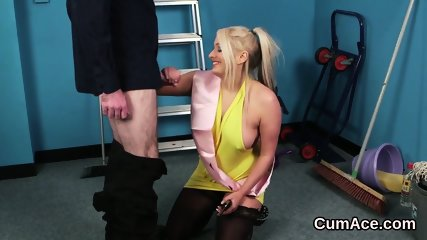 Kinky centerfold gets cumshot on her face swallowing all the semen