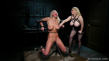 Monster tits blonde anal fucks her sub