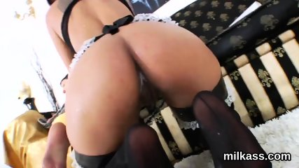 Naughty lesbos fill up their huge butts with milk and squirt it out