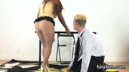 Teens poke men anal with massive belt cocks and squirt jizm