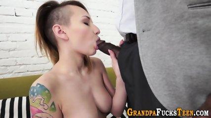 Teen sucks black grampa