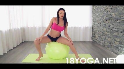 Yoga Brunette get anal