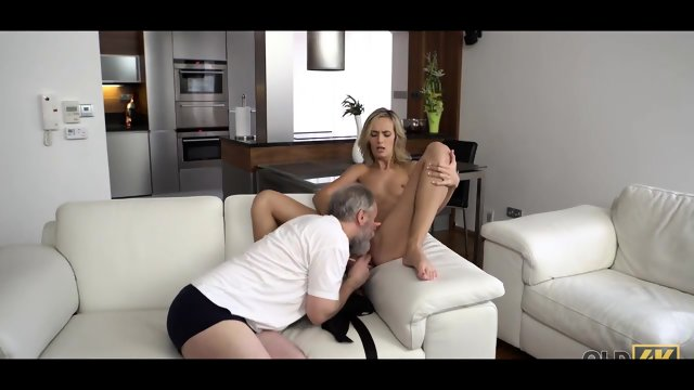 Sensual sex old guy and his model wife