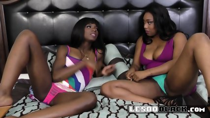 Fine ass black sluts engage in steamy lesbian action on the couch