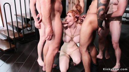 Huge tits redhead has interracial bdsm orgy