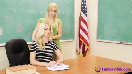 Blonde Teacher and Student Fuck Hard in Class