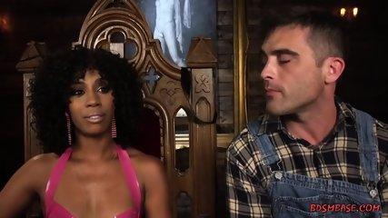 Ebony Domina Straponfucks Her Slave