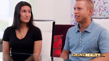 Hannah and JJ expose their naked bodies at the swingers backyard