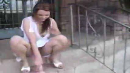 Maura rides a Dildo outdoor - scene 1