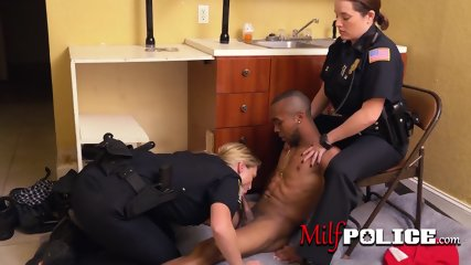 Milf cops make trespasser drill their horny cunts deep and hard
