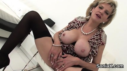 Unfaithful british milf lady sonia pops out her huge hooters